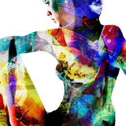 digital collage art woman torso