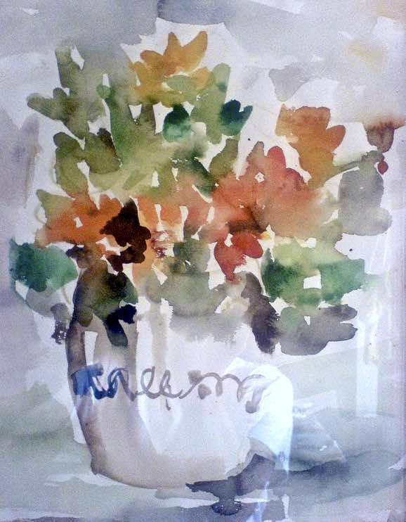 flowers still life painting watercolor