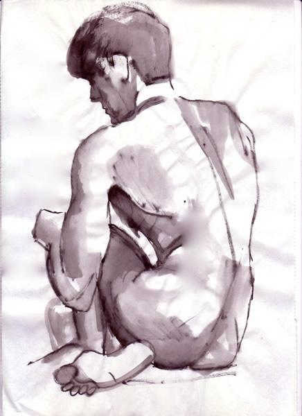 Siting Male Nude Drawing Ink Wash Boris Novak