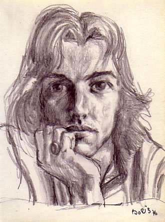 Pencil drawing on the paper self portrait study Boris Novak