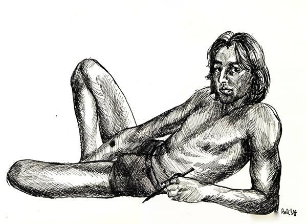 indian ink drawing self portrait Boris Novak