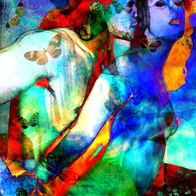 kiss and ecstasy mixed media digital collage