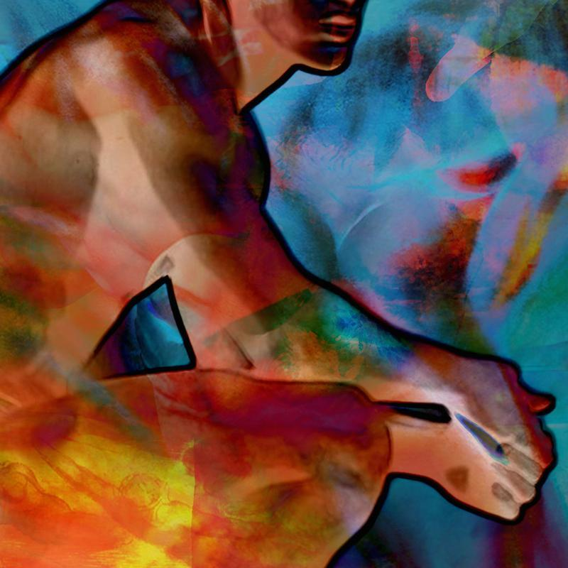 digital painting, manipulated photo crouching male figure