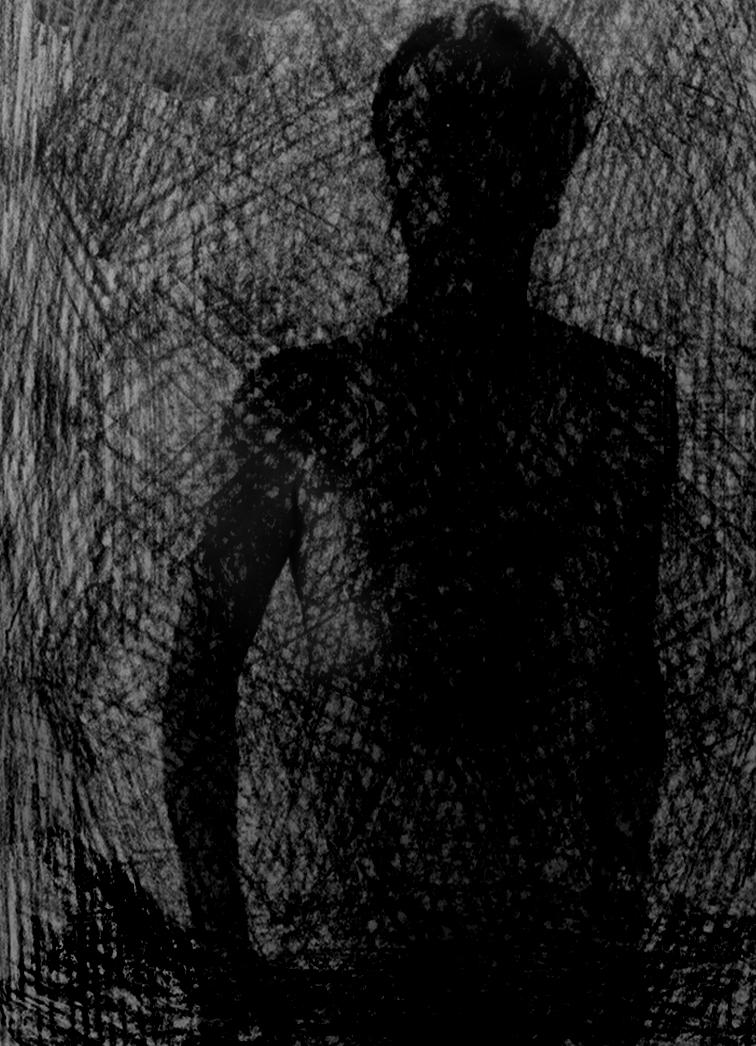 man silhuette dark drawing mixed media