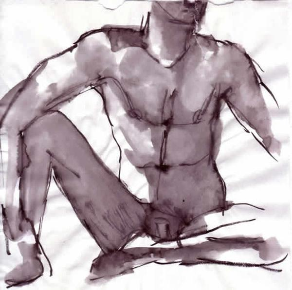 Pentel brush pen wash on paper Male Act Front Study Boris Novak