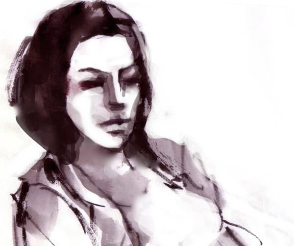 ink wash on paper drawing of a girl small