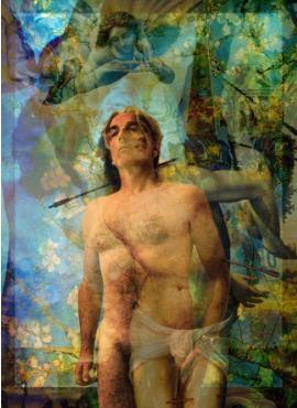 Empathy St. Sebastian digital collage painting